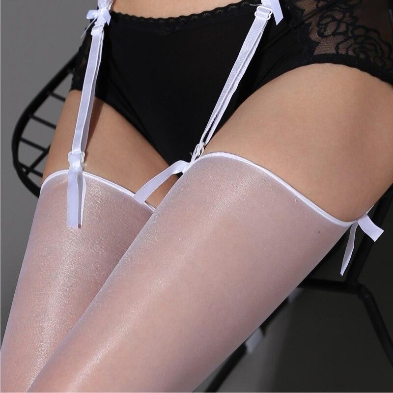 7 Colors Women Sexy Glitter Stockings Retro Oil Shine Thigh High Stockings Elastic Over Knee Nylon Pantyhose Female Medias