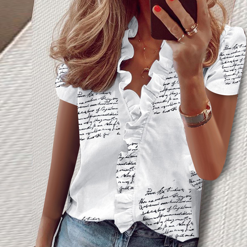 Summer Ruffle Stars Letter Print Tops And Blouse For Women Elegant Leisure Top 2020 New Women Sexy V Neck Short Sleeve Blusas