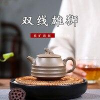 Yixing minério cru escuro-vermelho esmaltado cerâmica bule famosa mão workshop seção lama crewel leão chaleira kung fu chá tem presente