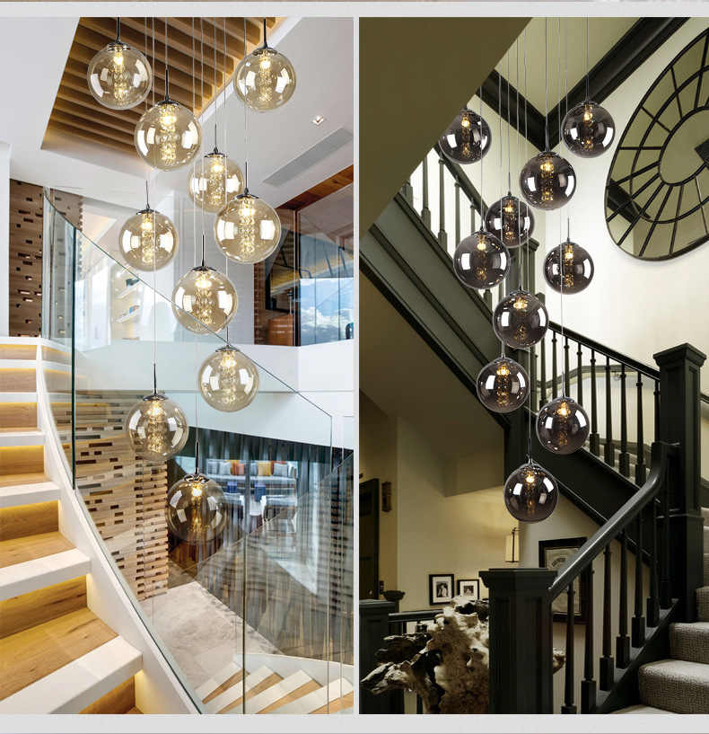 Modern glass ball chandelier staircase lamp double living room lamp LED g4 lighting fixture led lamp Stair chandelier Indoor led