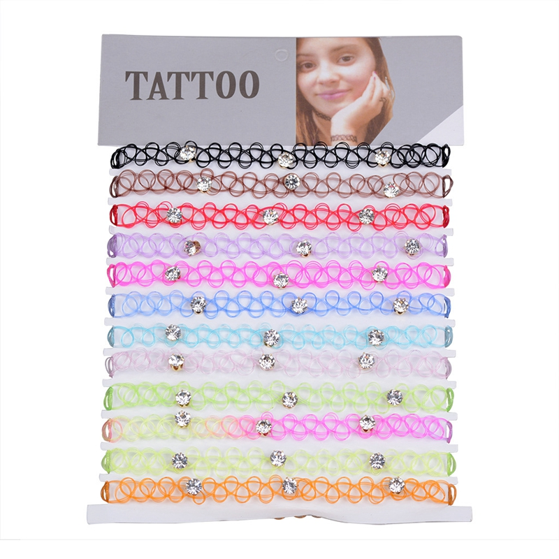 12 pcs/Set Crystal Fishline Tattoo Rainbow Chokers Necklace Stretch Henna Gothic Punk Elastic Chocker Women Jewelry