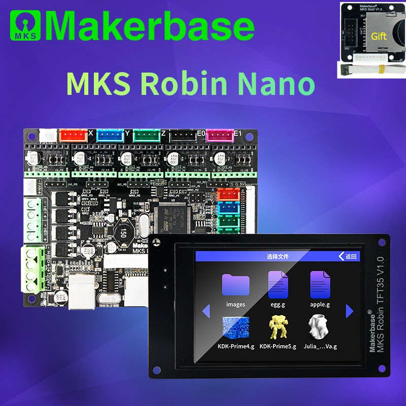 Makerbase MKS Robin Nano 32 bit Control Board 3D Printer DIY parts TFT3.5 touch screen wi-fi module tmc 2209 2208 stepper driver