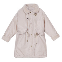 WLG family matching clothes mother and daughter down coats long style beige thick warm down coat