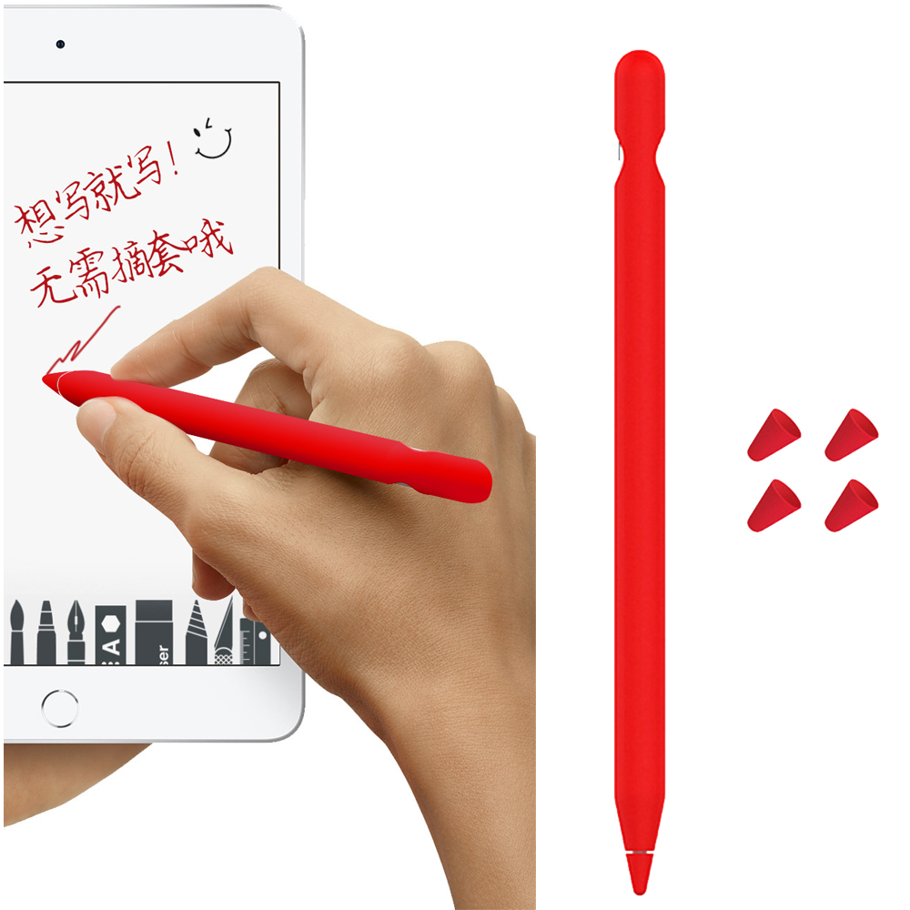 Magnetic Soft Silicone Capacitor 5 Pcs Pen Cap Tip + 1Pcs Tablet Pencil Protect Case For Apple Computer Pencil Accessory