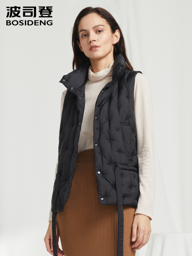 BOSIDENG 2019 New Standing Collar Commuter Ol Fairy Lady Wearing Down Jacket And Down Vest B90131104