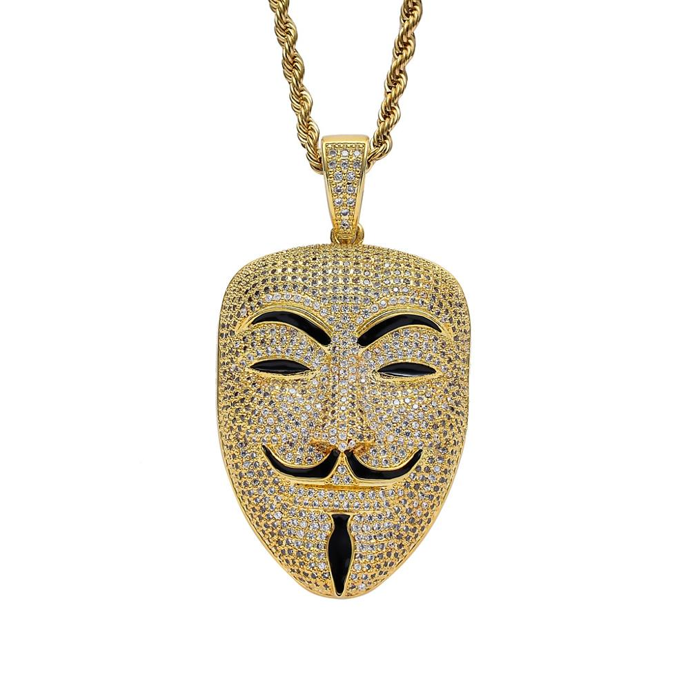 2019 newest iced out jewelry hiphop bling bling vendetta mask face pendants necklace for street boy
