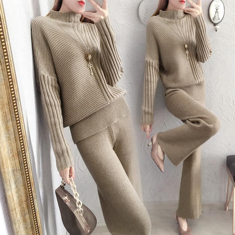 Knitted Suit Pant Sweater Suits 2 Piece Knitted Trouser Suit Track Suit Warm Knitted Pantsuits Women  Plus Size Sets Winter