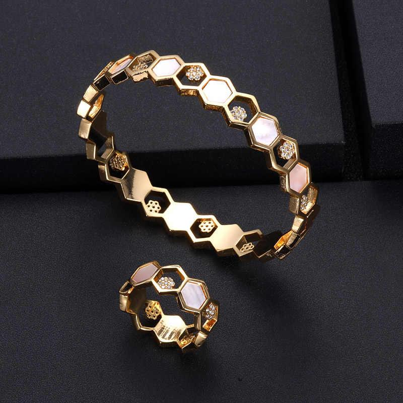 Jankelly Luxury ที่ไม่ซ้ำกันแอฟริกันแหวนกำไลชุดเครื่องประดับชุดผู้หญิงงานแต่งงาน Cubic Zircon คริสตัล CZ ดูไบเครื่องประดับชุดเจ้าสาว