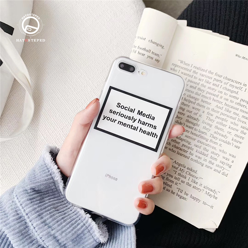 Social Media seriously harms your mental health Soft Silicone For iphone 11 Pro MAX 7 8 Plus 6 6s X XS Transparent Cover Case image