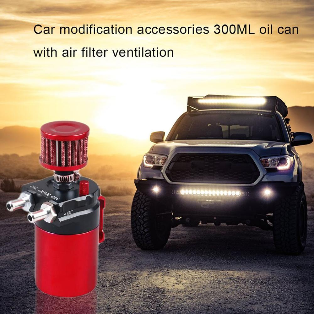 Hose and Other Accessories 300ml Aluminum Oil Catch Can Car Reservoir Tank Universal Air Oil Seperator with Air Filter Blue