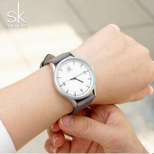 Image 3 - Shengke العلامة التجارية جلد النساء الساعات موضة السيدات ساعات كوارتز خمر المرأة عادية المرأة المعصم