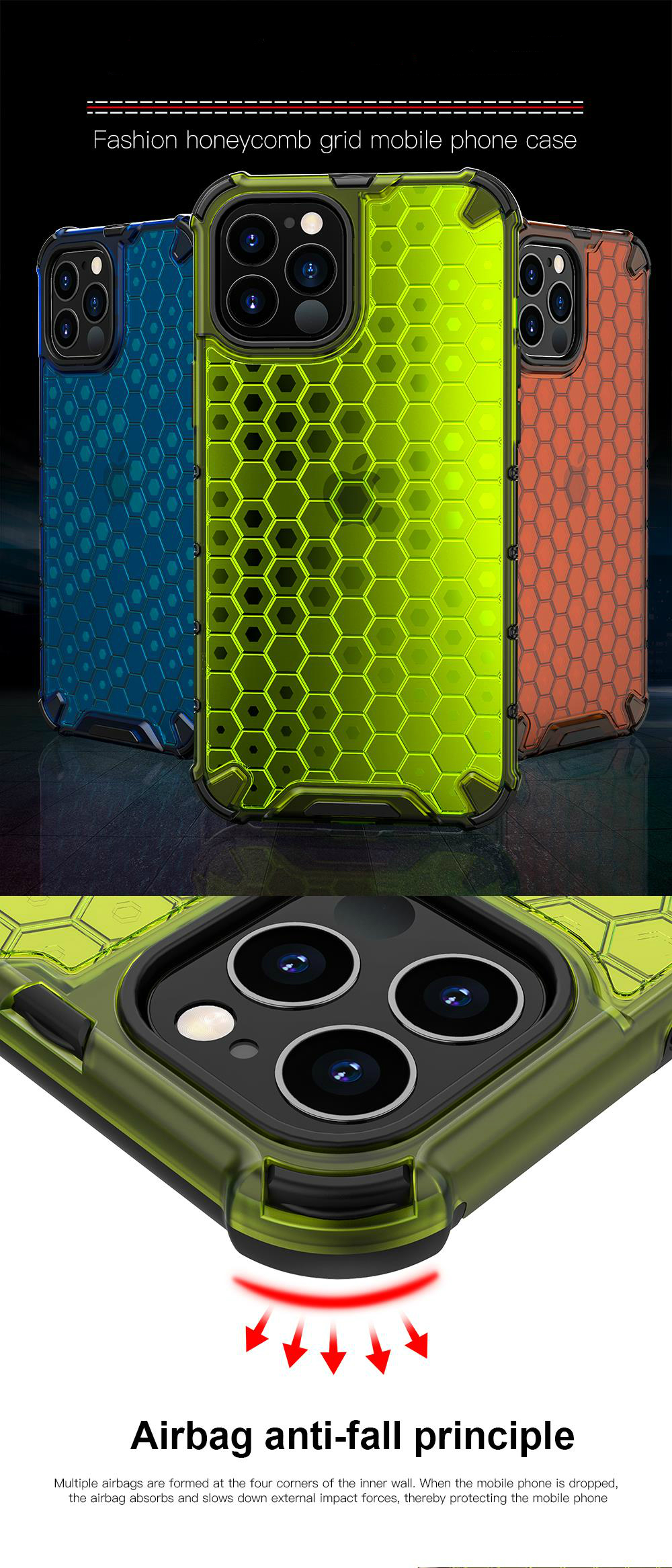 Transparent Shockproof Half Clear Honeycomb Phone Case for iPhone 12 Pro Max