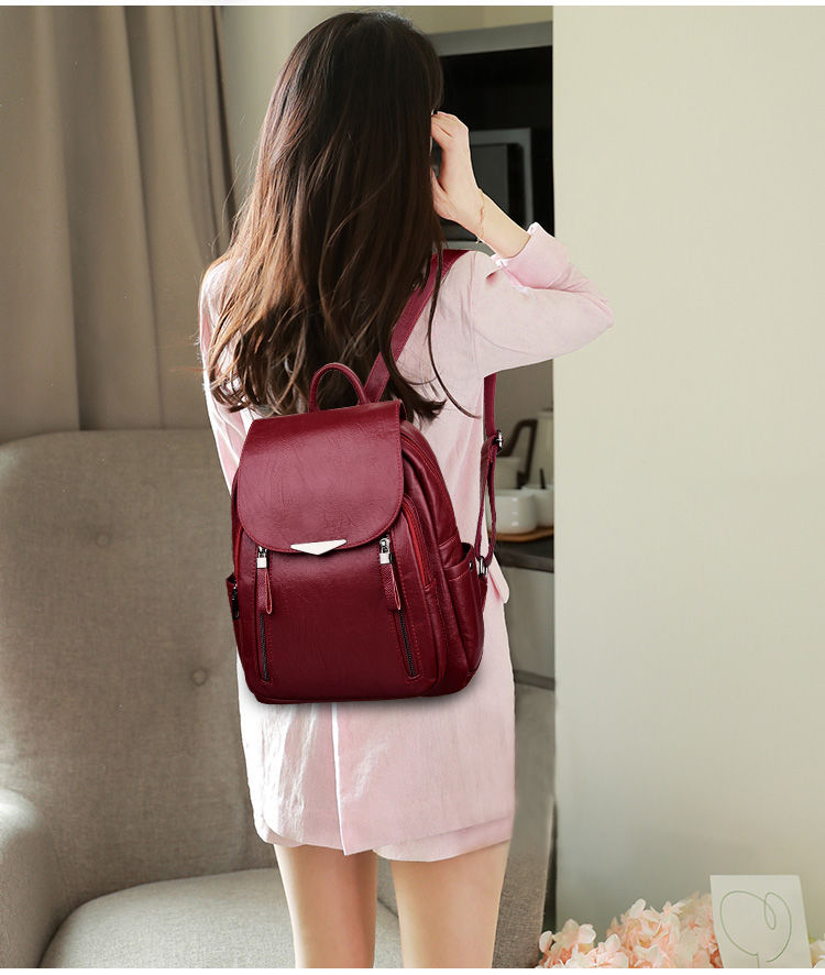H24383c06150f4033b01af57f0ccf5d9bF - Women Backpack PU Female backpacks Vintage Leather School Bags Large Capacity School Bag for Girls Double Zipper Shoulder Bags