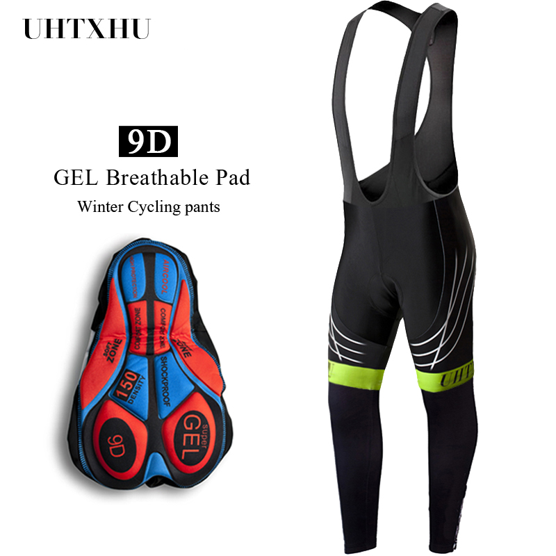 Uhtxhu 2020 Warm Cycling Bib Pants Trousers Winter Thermal Mountain Bike Pants Bicycle Tights Coolmax 9D Gel Pad Cycling Pants