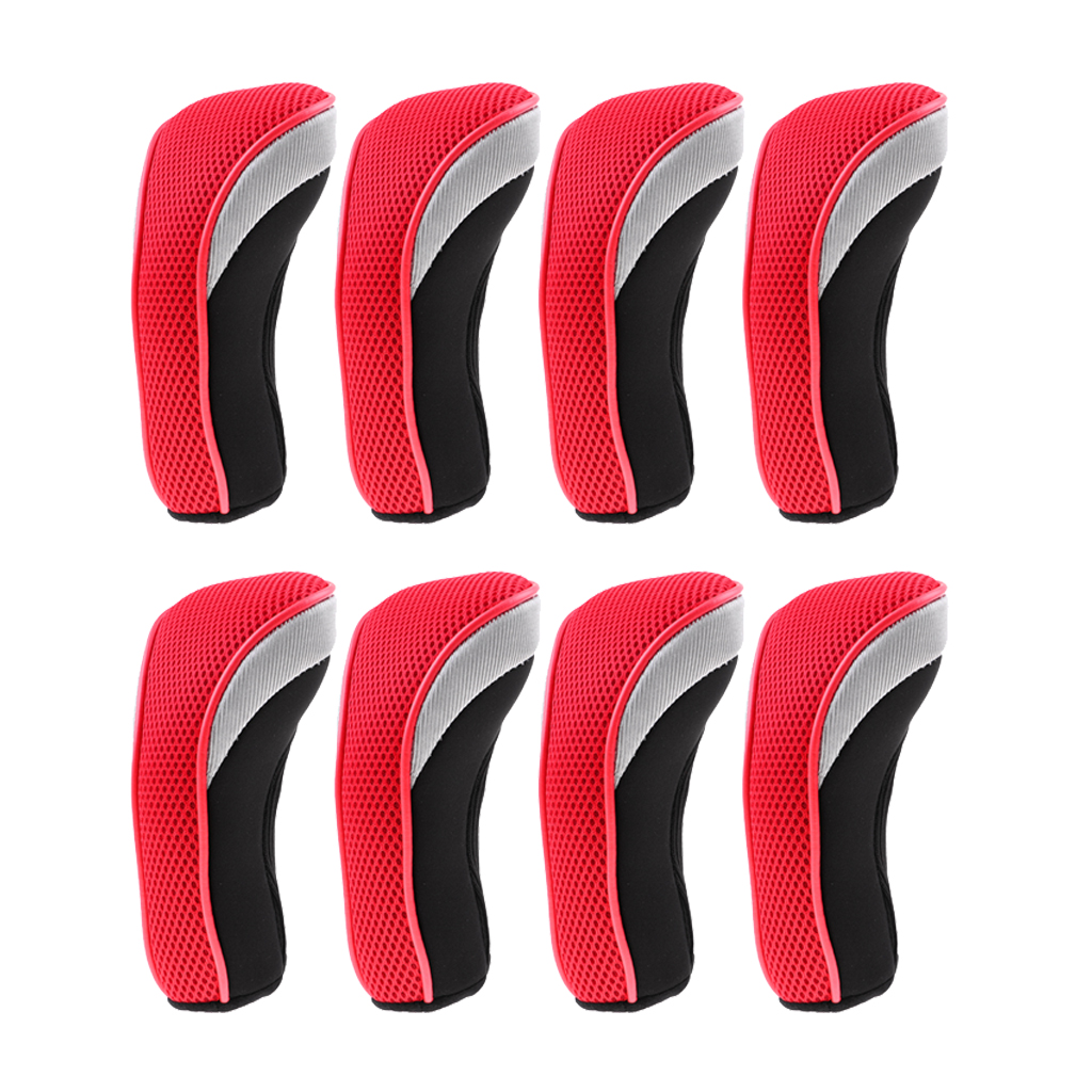 8Pcs Golf Club Head Cover Headcovers With Interchangeable Number Tags Golf Club Putter Sleeve Clubs Cover Protector Red