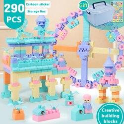 220-430 pces sonho castelo blocos de construção casa da cidade telhado grande partícula moinho de vento tijolo modelo figuras brinquedos educativos para crianças