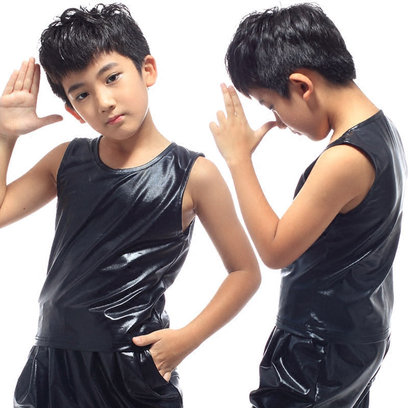 Children's Hiphop Clothing Stage Costumes Boys Short Sleeve Black Leather T-shirt  Jazz Dance Performance Show Costumes DQS2788