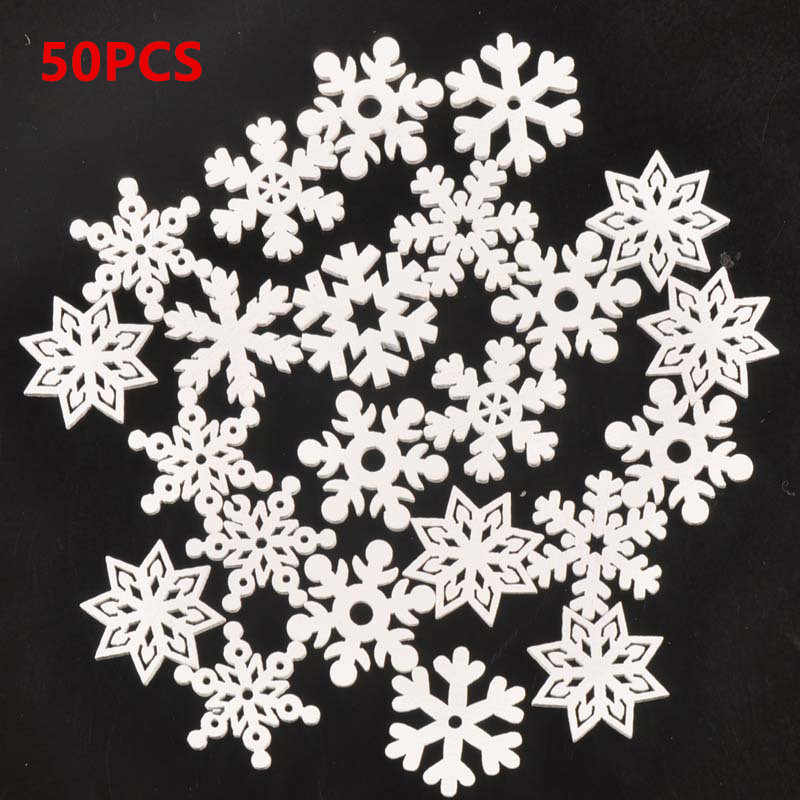 50pc 35mm Mix Shape Wooden White Snowflakes Christmas Ornaments Xmas Pendants New Year Christmas Decorations for Home navidad