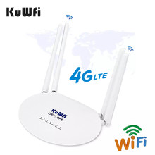 KuWFi 4G LTE Wifi Router 150Mbps 3G/4G Sim Karte Router Entsperrt Wireless Router mit 4Pcs Externe Antenne Up 32 Wifi Benutzer