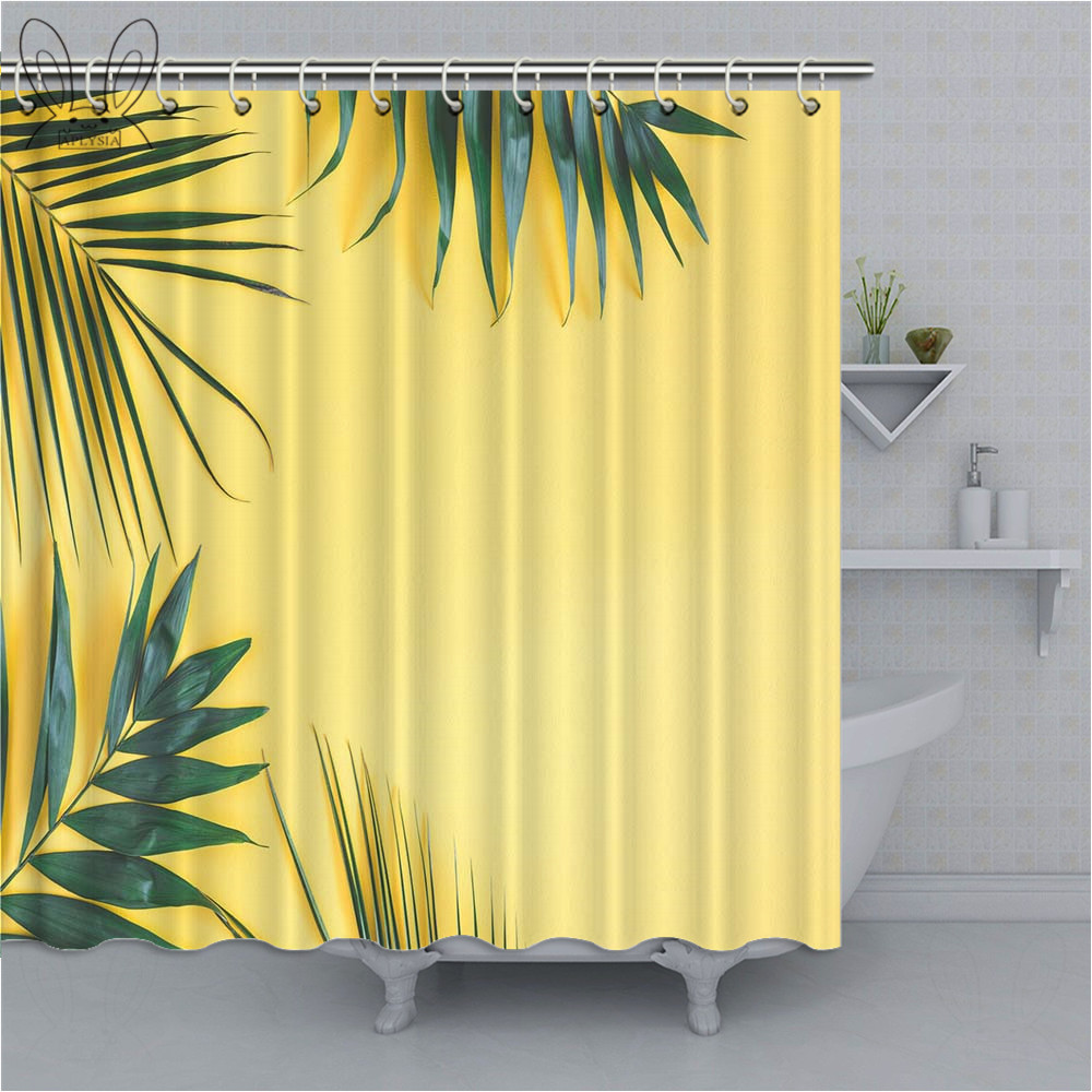 Bathroom Curtain Tropical Palm Leaves