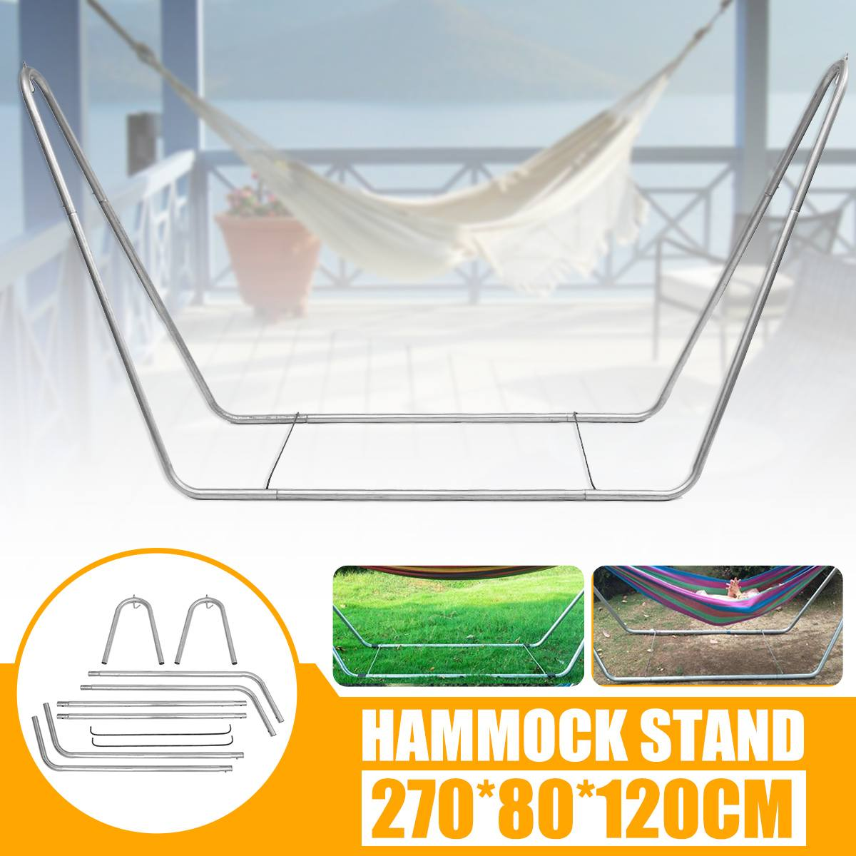Outdoor Patio Hammock Swing Chair Bed Metal Frame Stand Portable Large Garden Camping Indoor Hammock Stand Only 270*80*120cm