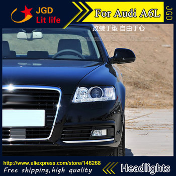 Car styling LED HID Rio LED Audi A6L a6 headlights case for Audi A6L a6 headlight 2005-2011 Bi-Xenon Lens low beam