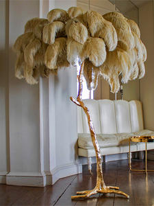 Standing-Lamp Floor-Lamp Feather-Gold Decorative-Lighting Ostrich Tripot Copper Nordic