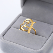 Fashion Stainless Steel Rings For Women Men Custom Jewelry Old English Font Letter Ring Bagues Pour Femme Gold Ring Anillos BFF dreamcarnival 1989 created pearls wedding ring for women anniversary zircon gift perla anillos bagues femme ringen wa11264