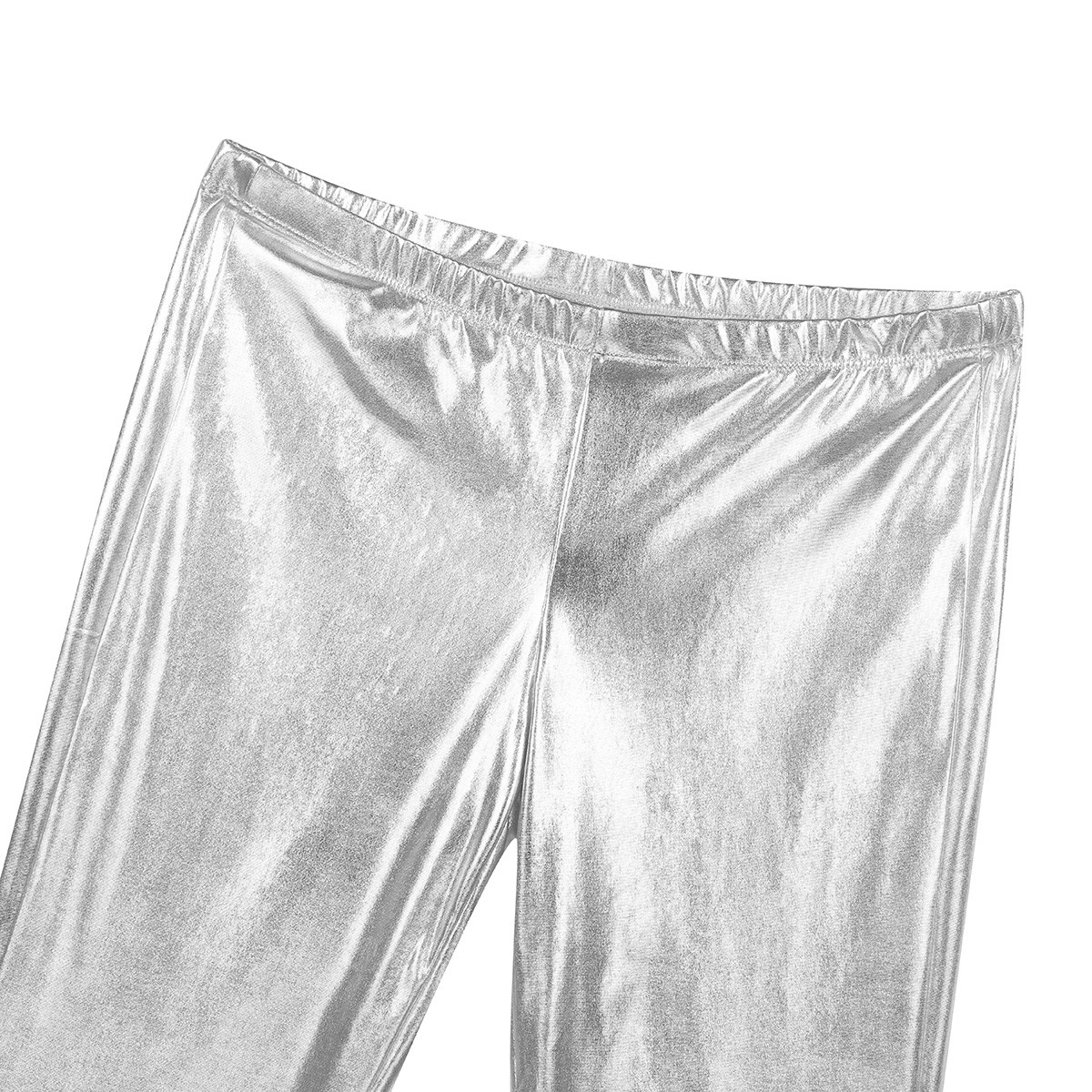 ChicTry Adults Mens Shiny Metallic Disco Pants with Bell Bottom Flared Long Pants Dude Costume Trousers for 70's Theme Parties 32