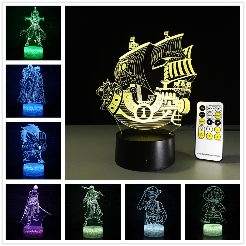 One Piece Miles Sunshine Lamp 3d Visual Led Lights For Kids Touch Usb Table As Lampe Baby Sleeping Nightlight Usb 3d Led Light