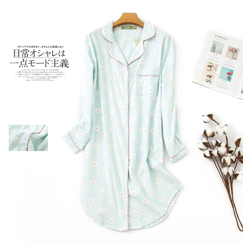 Long Nightgown Large Size Pajamas Long Sleeve Pure Cotton Flannel Nightgown Plus-sized Women's Home Wear