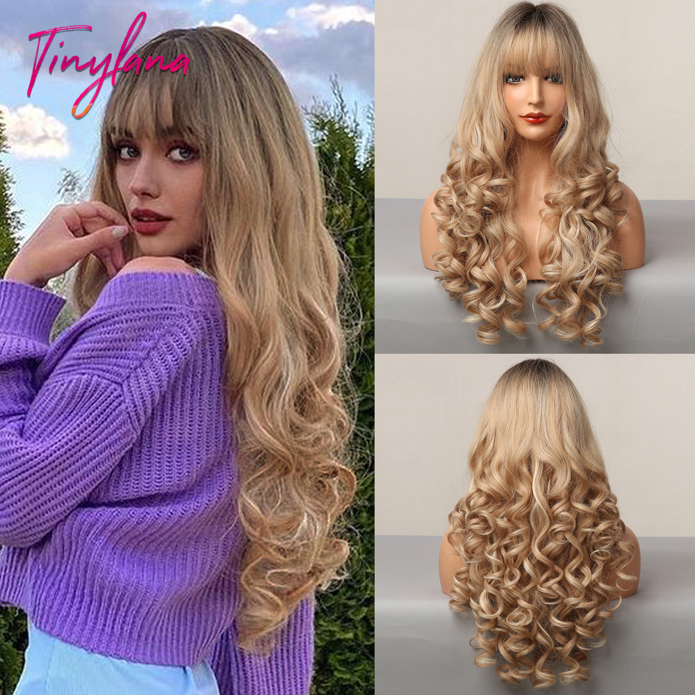 TINY LANA Long Ombre Brown Blonde Highlight Deep Wavy Wigs with Full Bangs Synthetic Wigs For Women Cosplay Party Heat Resistant