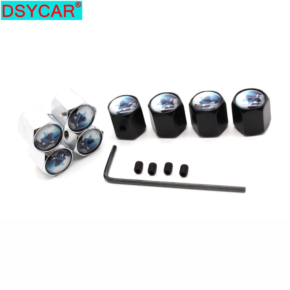 DSYCAR 1Set Car Styling Zinc Alloy Anti-theft Car Tire Valve Caps Wheel Tires Tire Stem Air Cap Airtight Covers