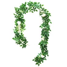 Artificial Rose Vine Flower and Green Leaf Crepe Rose Hanging Vine Flower Wreath Ivy Plant Home Wedding Party Garden Wall Decora