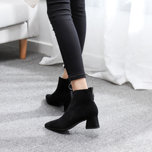 Square Heel Boots Women Winter Chelsea mid Heels boots Womens Ankle Botas ботинки зимние женские stivaletti donna