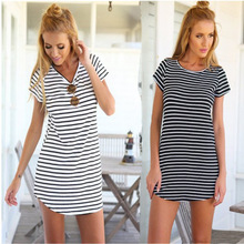 Sexy Summer Short Sleeve T Shirt Dress Casual White and Black Stripe Knitted
