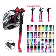 2021 yeni motosiklet kask örgüler kadın örgüler peruk motosiklet kaskları 17 renkler büküm çift Pigtail at kuyruğu enayi ile yay