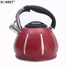 BORREY 3L Whistling Kettle Stainless Steel Induction Cooker Kettle Red Home Kettle Gas Stove Water Bouilloire Camping Cooking