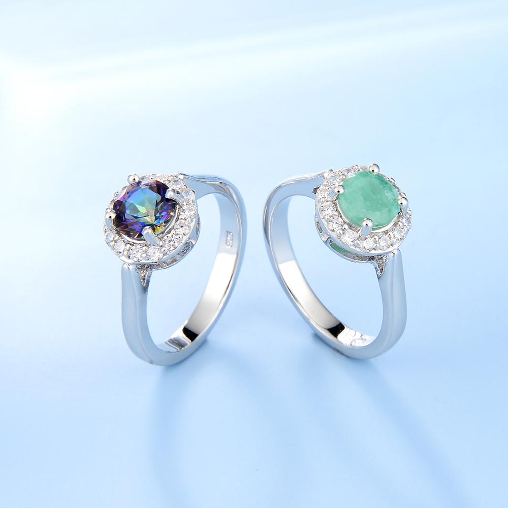 GEM'S BALLET Real 925 Sterling Silver Gemstone Halo Ring Natural Green Emerald Mystic Topaz Rings For Women Fine Jewelry