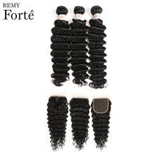 Remy Forte Deep Wave Bundles With Closure 30 Inch Brazilian Hair Weave 3/4