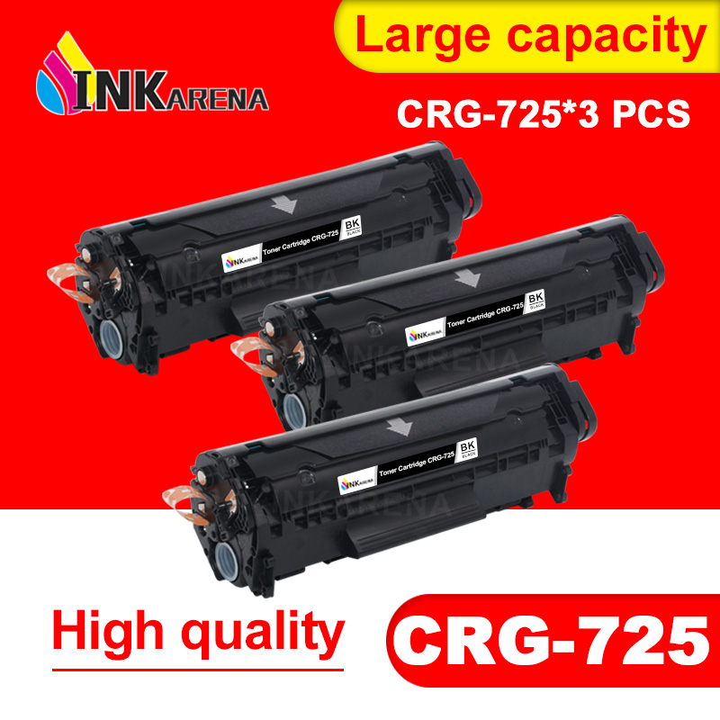 INKARENA 3pcs Black Toner Cartridge for <font><b>Canon</b></font> CRG725 CRG 725 Compatible image CLASS <font><b>LBP6000</b></font> LBP6018WL LBP6030w MF3010 Printer image