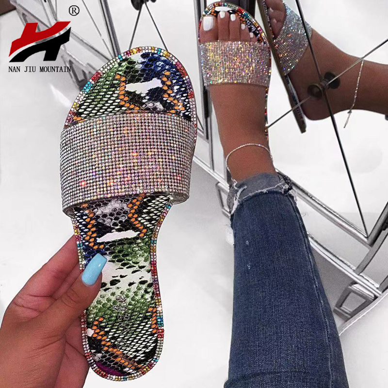 NAN JIU MOUNTAIN Handmade Rhinestone Sandals Summer Women's Slippers Bright Color Comfortable Sole Plus Size Woman Shoes