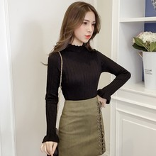 DWave Side Flare Sleeve Bottoming Knit Tee Autumn 2019 Women T-Shirts Turtleneck Sweater Long Sleeve Solid Color Female T Shirts knit cold shoulder bottoming t shirts in black