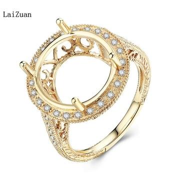 10K Yellow Gold Real Diamonds Oval Cut 14x13mm Semi Mount Wedding Luxurious Ring