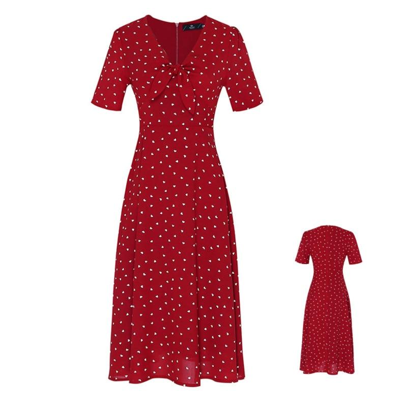 Flectit Vintage '80s Dress French Style Polka Dot Button Up Midi Dress Long Sleeve High Waisted Retro Holiday Dress Women