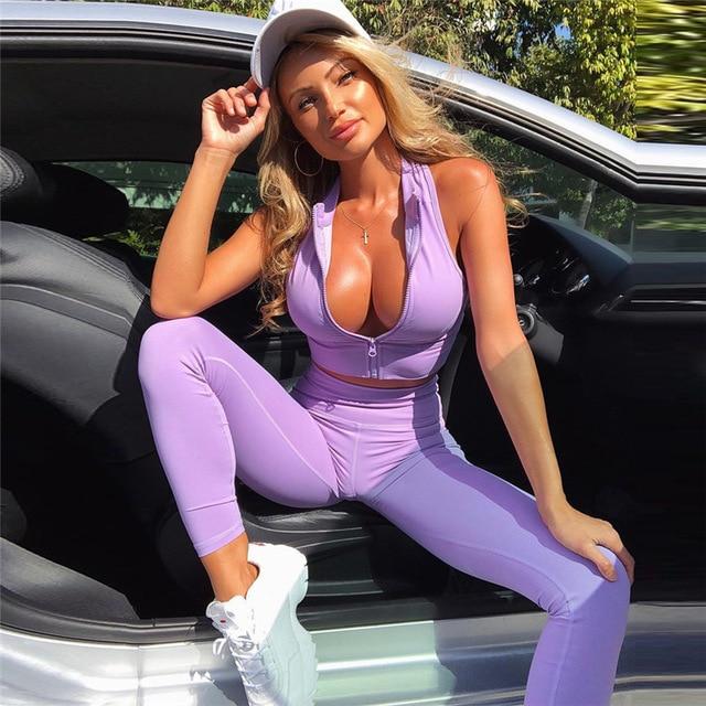 GXQIL Workout Sport Clothes for Women Sportswear 2020 Sport Gym Set Women Fitness Suit Dry Fit Ensemble Sport Femme Purple Kit
