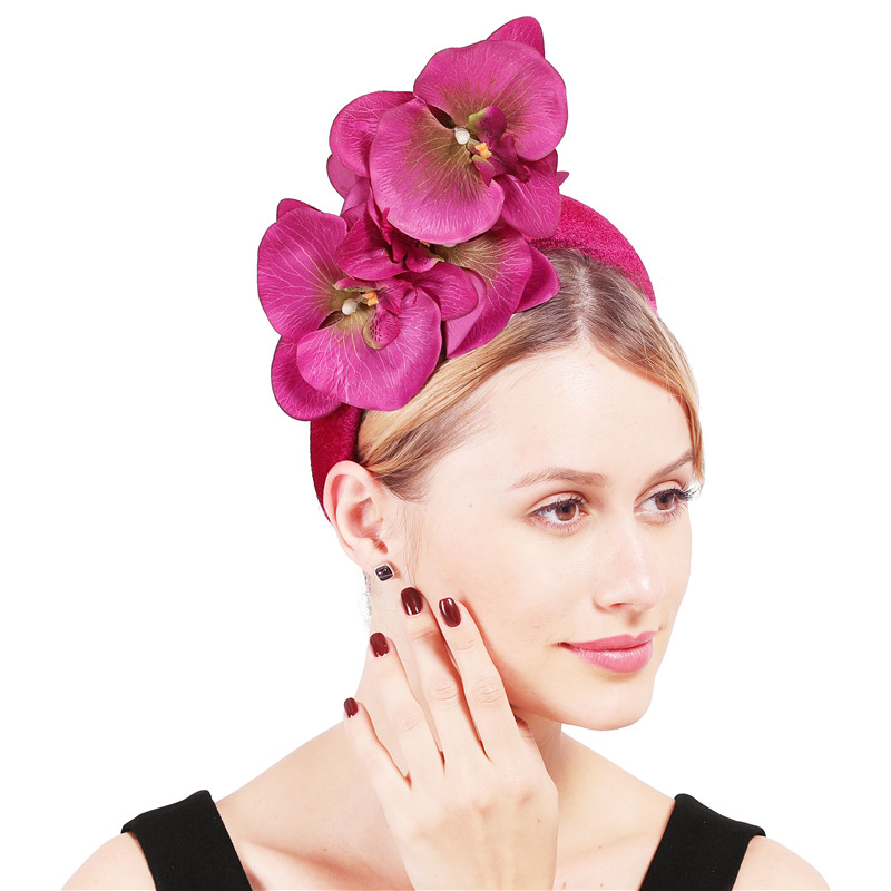 Hot Pink Thick Heabands Women Ladies Fashion Flower Headwear Fascinators Wedding Cocktail Party Dinner Hair Accessory Hair Bands