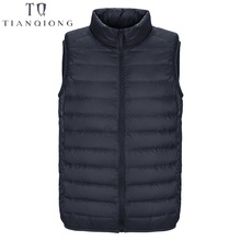 2019 New Men #8217 s Sleeveless Ultralight 90 White Duck Down Warm Vest Men #8217 s Casual Vest Men #8217 s Warm Jacket Outwear Waistcoat cheap TIAN QIONG Thin (Summer) REGULAR Smart Casual zipper Full Solid Broadcloth NONE Polyester 100g-150g