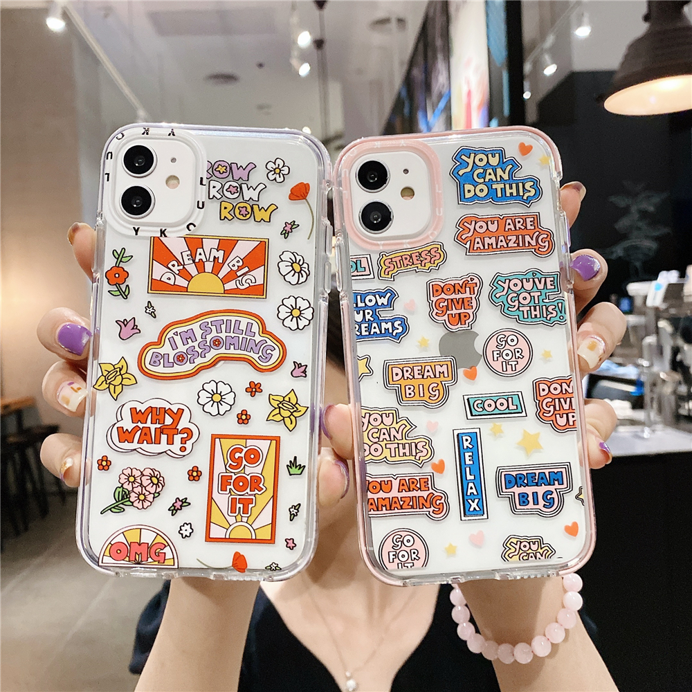Graffiti Letter Phone Case For iPhone 12 11 11Pro Max SE 2020 X XR XS Max 6s 7 8 Plus Phonecases Clear Soft Silicone Back Cover