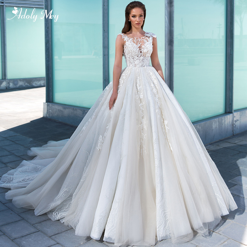 Adoly Mey New Gorgeous Appliques Beaded Ball Gown Wedding Dresses 2020 Elegant O-Neck Lace Up Cap Sleeve Princess Bridal Dress